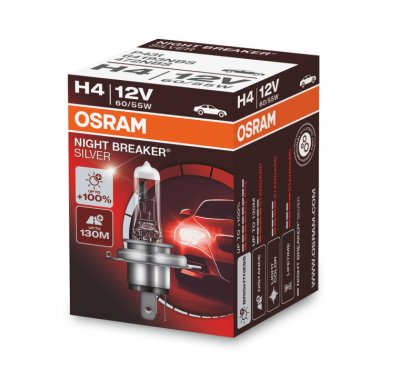 Крушка H4 OSRAM Night Breaker SilverStar 60/55W +100%
